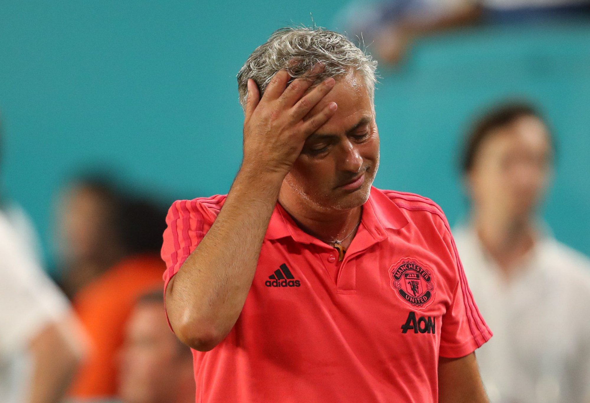 MIAMI, FL - JULY 31: A dejected Jose Mourinho the head coach / manager of Manchester United at full time during the International Champions Cup 2018 fixture between Manchester United v Real Madrid at Hard Rock Stadium on July 31, 2018 in Miami, Florida. (Photo by Robbie Jay Barratt - AMA/Getty Images)