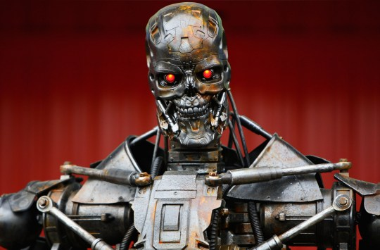 BARCELONA, SPAIN - MAY 09: The Terminator robot is seen in the paddock following qualifying for the Spanish Formula One Grand Prix at the Circuit de Catalunya on May 9, 2009 in Barcelona, Spain. (Photo by Paul Gilham/Getty Images)