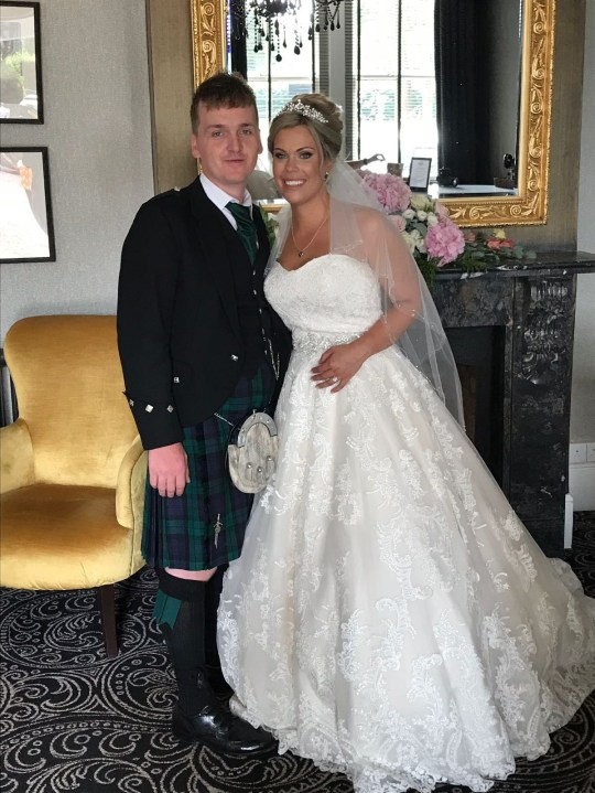 Collect picture of Beth and Jordan Jack on their wedding day. Armed police swooped on a bride's house after reports she was dragging a body bag to a car - which turned to be her wedding DRESS. See SWNS story CPSUSPECT; Blushing Beth Jack, 26, had wrapped the precious gown in a duvet to protect it and took it to her car the night before the big day. But a neighbour saw her and thought she had murdered someone and was taking the corpse to her vehicle. They dialled 999 and four armed armed cops and a detective swopped on Beth and partner Jordan Jack's home in Swindon., Wilts. Luckily they were able to explain and the happy couple married a day later and are now honeymooning in Tanzania.