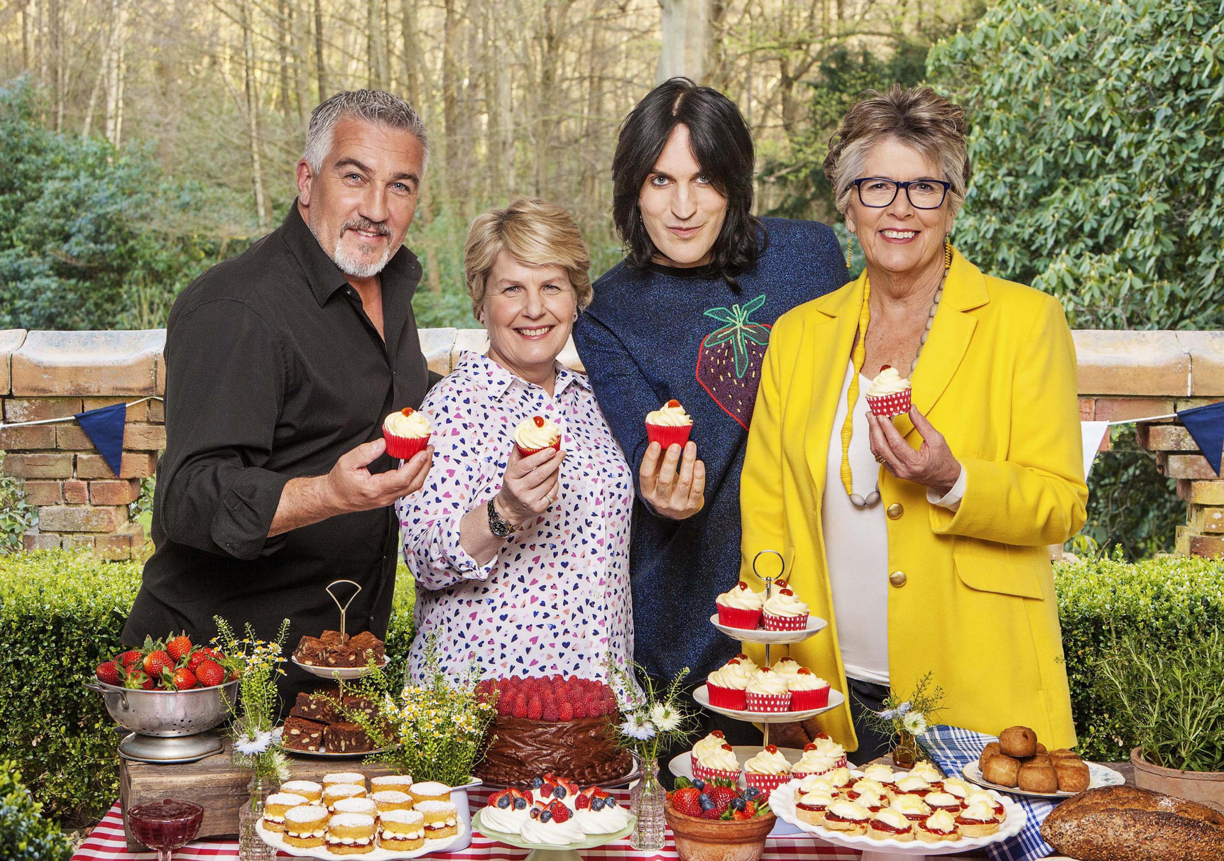 Television programme : THE GREAT BRITISH BAKE OFF 8 2017: - Left To Right: Paul Hollywood, Sandi Toksvig, Noel Fielding, Prue Leith.(?? Love Productions / Channel 4 / Mark Bourdillon)