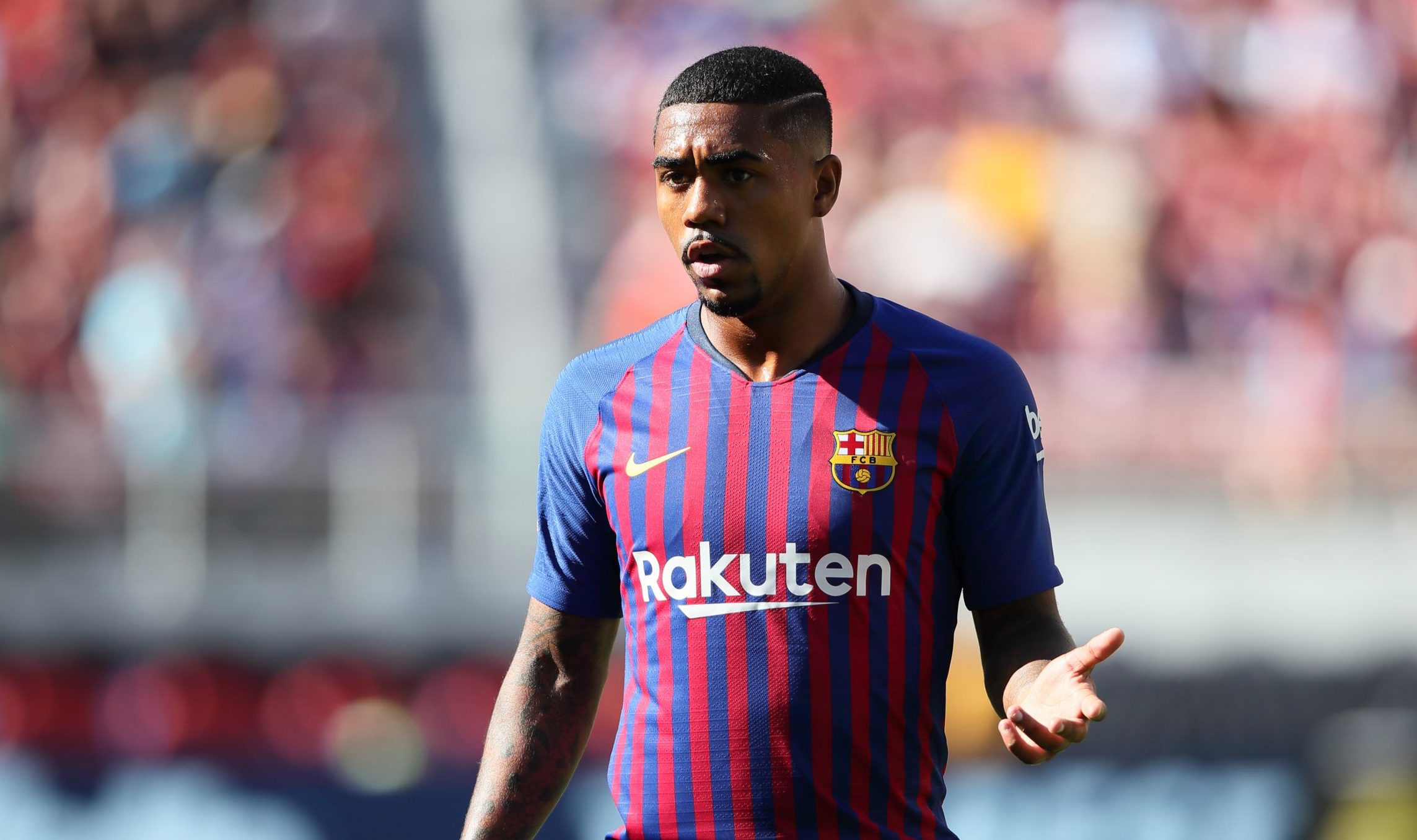 SANTA CLARA, CA - AUGUST 04: Malcom Silva of FC Barcelona during the International Champions Cup 2018 match between AC Milan and FC Barcelona at Levi's Stadium on August 4, 2018 in Santa Clara, California. (Photo by Matthew Ashton - AMA/Getty Images)