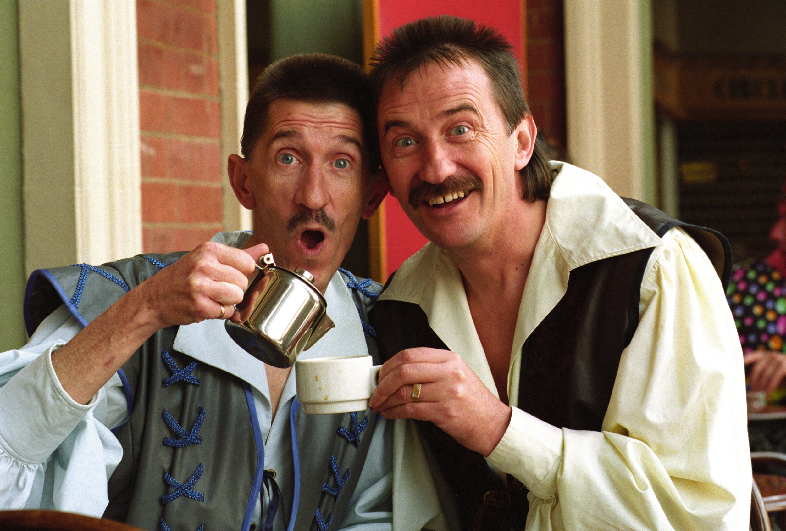Mandatory Credit: Photo by David Bagnall/REX/Shutterstock (1915399ar) The Chuckle Brothers Paul and Barry Elliot in costume for the pantomime Snow White at the Grand Theatre, Wolverhampton. Various - 1993