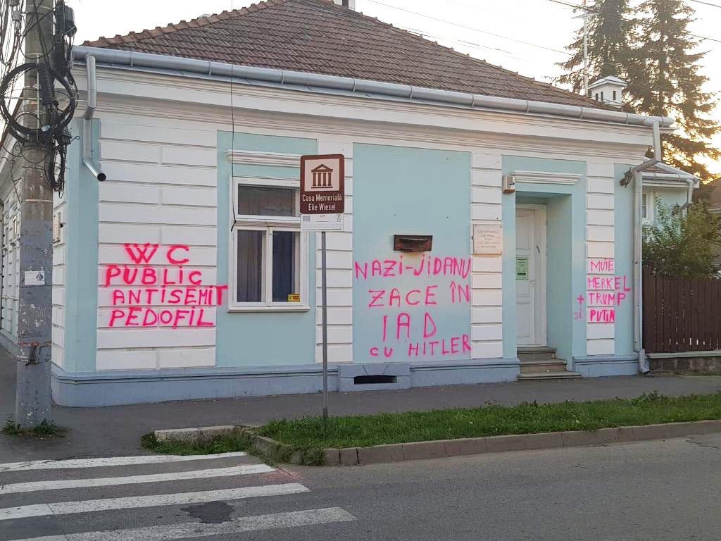 Auschwitz survivor's house defaced Picture: Elie Weisel's house, Romania Credit: realitatea.net