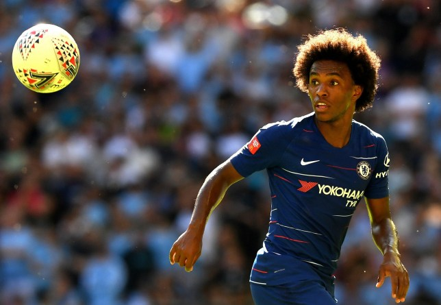 LONDON, ENGLAND - AUGUST 05: Willian of Chelsea looks on at the ball during the FA Community Shield between Manchester City and Chelsea at Wembley Stadium on August 5, 2018 in London, England. (Photo by Darren Walsh/Chelsea FC via Getty Images)