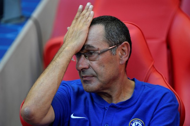 Soccer Football - FA Community Shield - Manchester City v Chelsea - Wembley Stadium, London, Britain - August 5, 2018 Chelsea manager Maurizio Sarri looks dejected at the end of the match REUTERS/Toby Melville