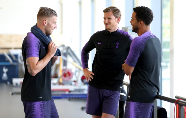 ENFIELD, ENGLAND - AUGUST 06: Toby Alderweireld, Jan Vertonghen and Mousa Dembele of Tottenham at Tottenham Hotspur Training Centre on August 6, 2018 in Enfield, England. (Photo by Tottenham Hotspur FC/Tottenham Hotspur FC via Getty Images)