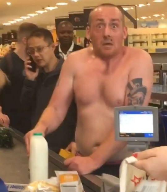 AN Aldi shopper filmed ?wired off his f****** nuts? as he attempts to buy milk, has gone viral. The bizarre video, taken on Sunday afternoon, shows the topless man buying two pints of semi-skimmed milk, at the Aldi, in Regent Street, Leeds. Toni Smith, 26, from Leeds, posted the video to Facebook where it has now gathered more than 360,000 views, and been shared widely across social media. The video begins with the man approaching the checkout, topless and jerking, with two pints of semi-skimmed milk. Filming the video, Toni remarks: ?He is off his f****** nut.?
