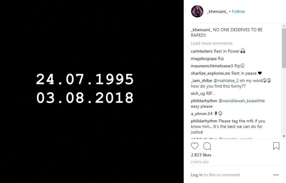 Khensani Maseko, 23, left a final Instagram post with her date of birth, alongside Friday's date, the day she died in Johannesburg https://www.instagram.com/_khensani_/