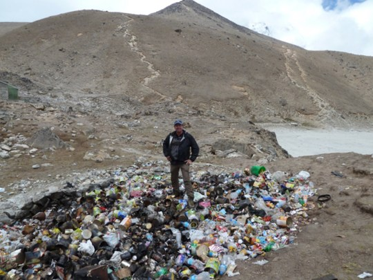 MOUNT EVEREST, NEPAL The shocking true impact of tourism on Mount Everest has been laid bare in photos that reveal where the rubbish really ends up. Photo shows Alton Byers at a landfill in Gorak Shep (Credit: Pen News/Alton Byers) (Pen News ??25, ??15, ??10 online) (Contact editor@pennews.co.uk/07595759112)