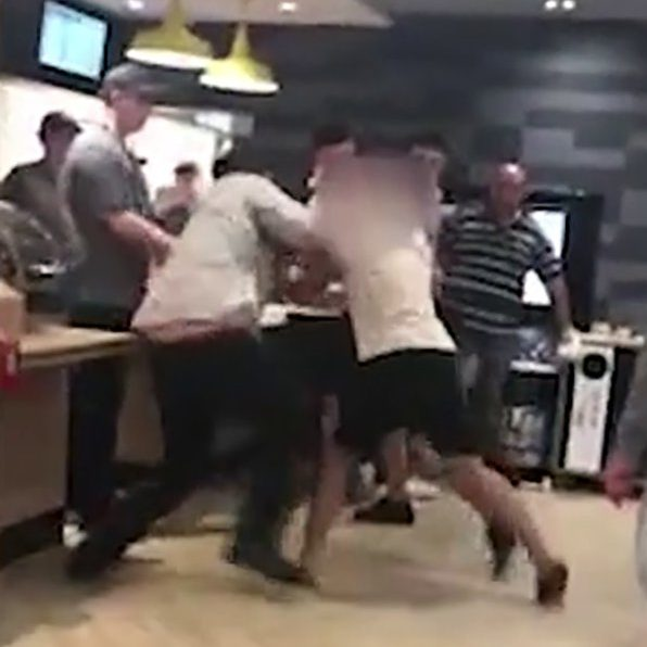 A McDonald's manager was filmed being attacked by 'drunk' teens on Tuesday. Jasmine Brudenall, from Boston, Lincolnshire, filmed the disgraceful assault.