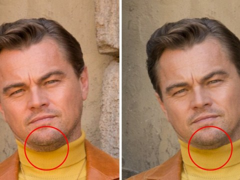 Leonardo DiCaprio's chin has been 'shaved down' in Once Upon A Time In Hollywood promo poster