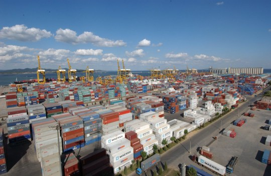 Mandatory Credit: Photo by Imaginechina/REX/Shutterstock (5239341a) A container terminal at the Port of Dalian in Dalian city, northeast China's Liaoning province. Various