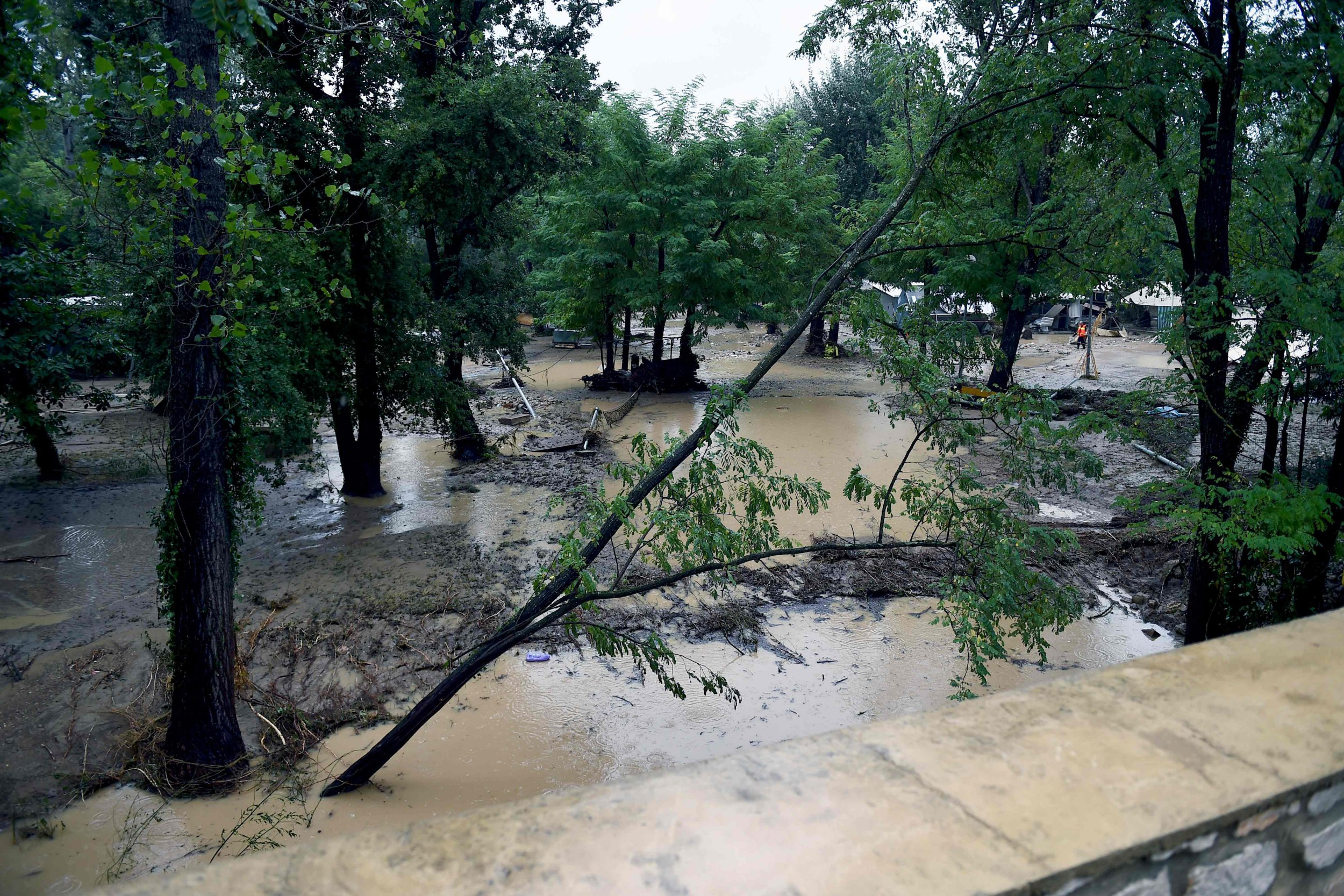 This picture shows a flooded and damaged camping as storms and heavy rains sweep across France on August 9, 2018 in Saint-Julien-de-Peyrolas, southern France. - The bad weather caused large power cuts and a man who was working in a summer camp went missing according to the gendarmerie. (Photo by Boris HORVAT / AFP)BORIS HORVAT/AFP/Getty Images