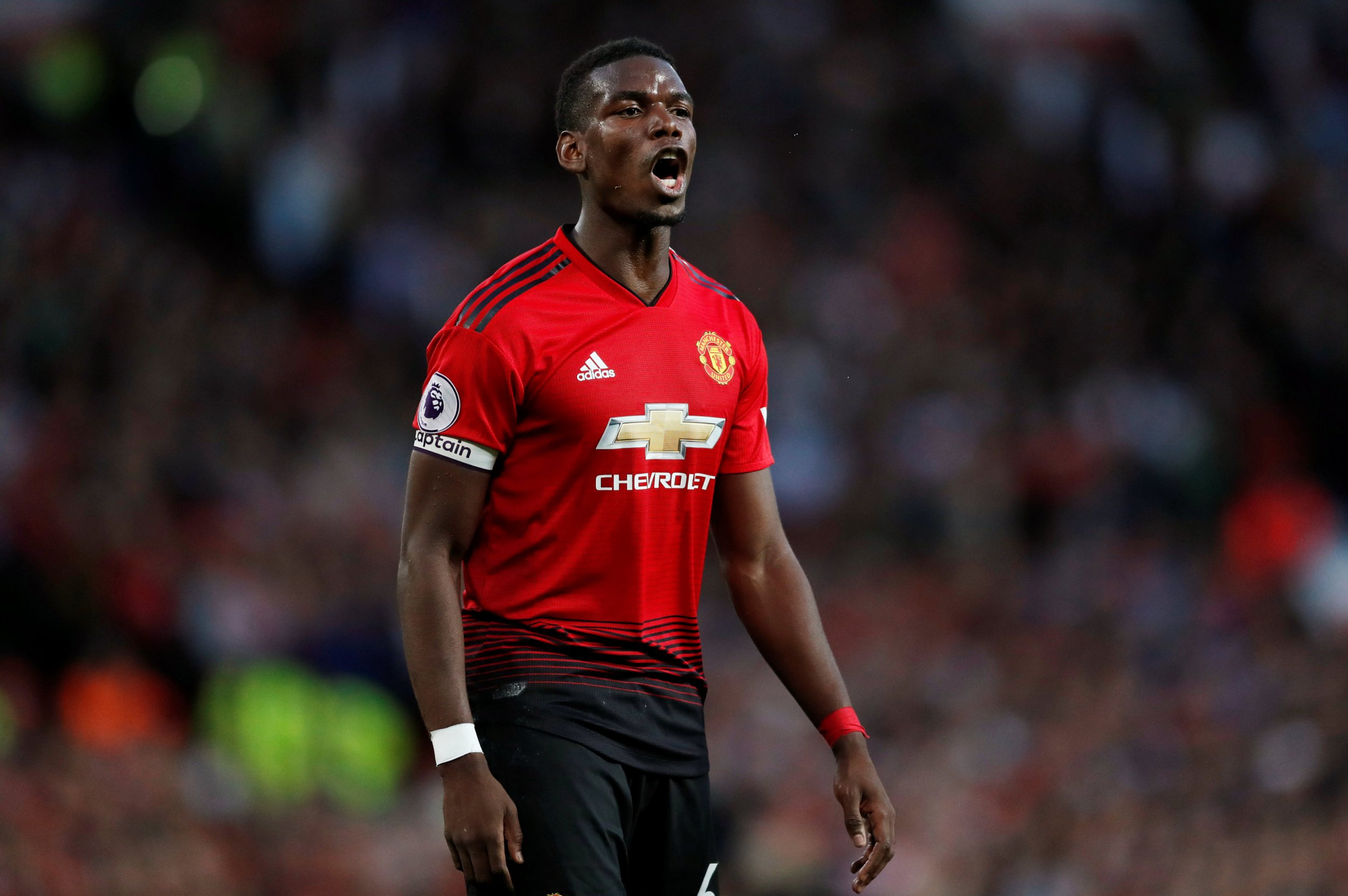 "Soccer Football - Premier League - Manchester United v Leicester City - Old Trafford, Manchester, Britain - August 10, 2018 Manchester United's Paul Pogba Action Images via Reuters/Andrew Boyers EDITORIAL USE ONLY. No use with unauthorized audio, video, data, fixture lists, club/league logos or ""live"" services. Online in-match use limited to 75 images, no video emulation. No use in betting, games or single club/league/player publications. Please contact your account representative for further details."