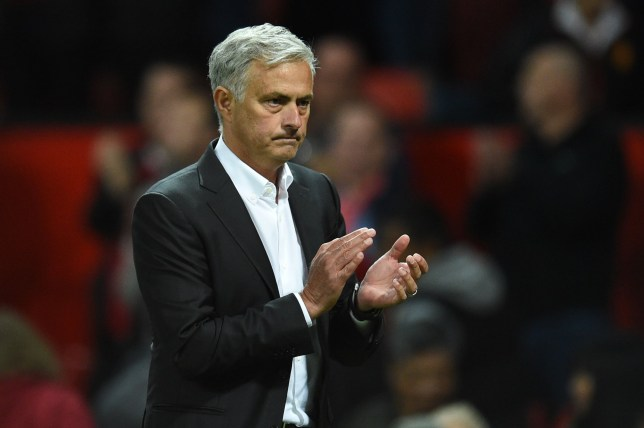Manchester United's Portuguese manager Jose Mourinho gestures after the English Premier League football match between Manchester United and Leicester City at Old Trafford in Manchester, north west England, on August 10, 2018. (Photo by Oli SCARFF / AFP) / RESTRICTED TO EDITORIAL USE. No use with unauthorized audio, video, data, fixture lists, club/league logos or 'live' services. Online in-match use limited to 120 images. An additional 40 images may be used in extra time. No video emulation. Social media in-match use limited to 120 images. An additional 40 images may be used in extra time. No use in betting publications, games or single club/league/player publications / OLI SCARFF/AFP/Getty Images
