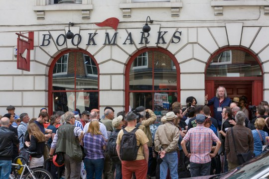 Mandatory Credit: Photo by Steve Parkins/REX/Shutterstock (9787722q) Following last Saturday invasion by a group of far right activists of the socialist bookshop Bookmarks in Bloomsbury, London, who attempted to intimidate staff by shouting racist slogans and wrecking book displays. A week later staff and customers hold a solidarity demonstration with book readings and speeches to show that they won't be silenced by far-right activists. Bookmark's Bookshop Solidarity Day, London, UK - 11 Aug 2018