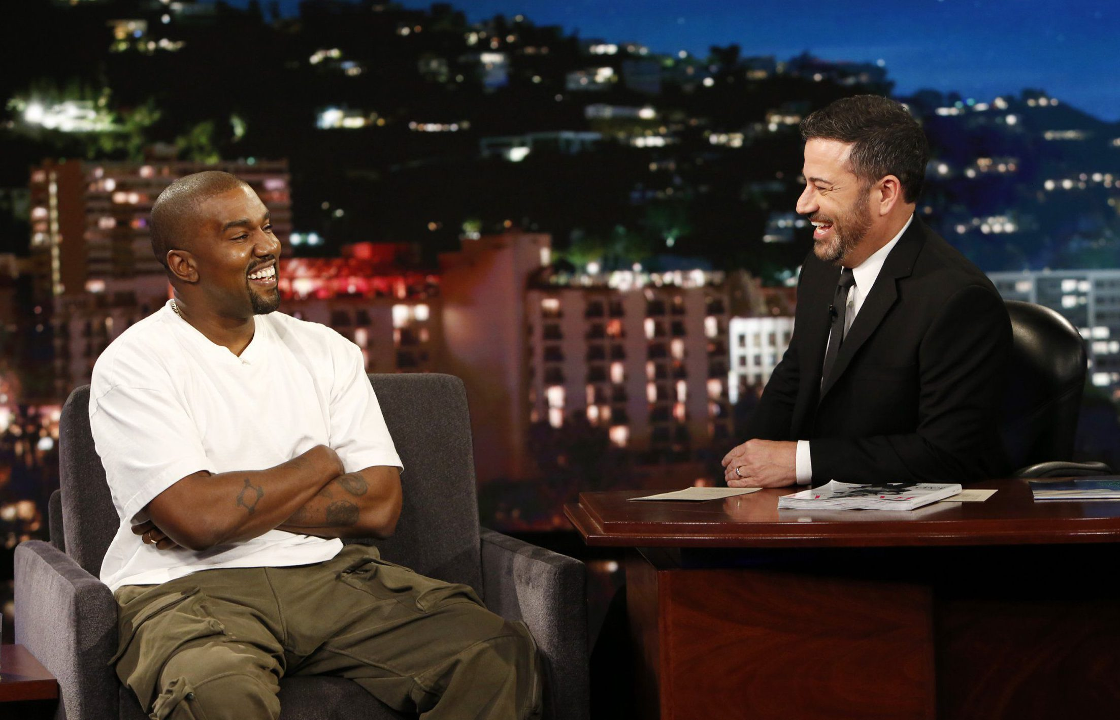 "JIMMY KIMMEL LIVE! - ""Jimmy Kimmel Live!"" airs every weeknight at 11:35 p.m. EDT and features a diverse lineup of guests that include celebrities, athletes, musical acts, comedians and human interest subjects, along with comedy bits and a house band. The guests for Thursday, August 9 included Kanye West (""Ye""), and Awkwafina (""Crazy Rich Asians""). (Randy Holmes/ABC via Getty Images) KANYE WEST, JIMMY KIMMEL"