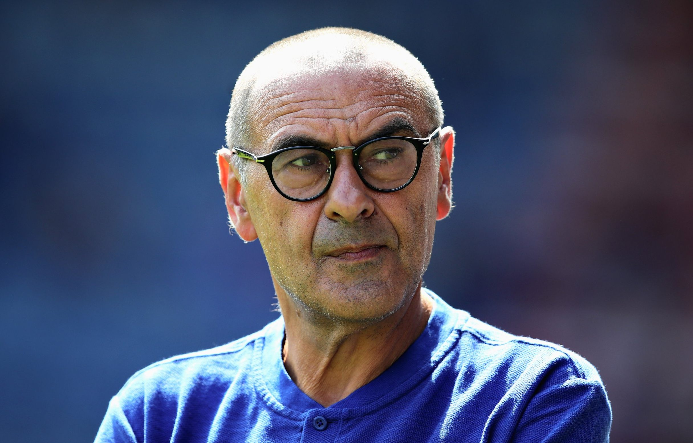 HUDDERSFIELD, ENGLAND - AUGUST 11: Chelsea manager Maurizio Sarri looks on during the Premier League match between Huddersfield Town and Chelsea FC at John Smith's Stadium on August 11, 2018 in Huddersfield, United Kingdom. (Photo by Chris Brunskill/Fantasista/Getty Images)