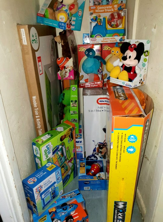 """The presents. See SWNS story SWXMAS. Meet the forward-thinking mum who started buying her children?s Christmas presents NINE months early. Paige Ridlings, 21, started buying gifts for her two sons in March - and has finished her shopping with four months to spare. She spent ?600 on items for Oscar, two, and 11-month-old Rogan-Leigh online to avoid the stress of last-minute shopping. Full-time mum Paige, who spread the cost across 40 items, said she likes to stay ahead of the game to avoid """"rushing around at the last minute"""". Paige also dismissed suggestions she spends too much on her young children - because they will receive few presents on their birthdays. The 40 items include a ?120 trampoline, a trike for babies priced at ?95, a small bicycle costing ?40 and a toy dog which helps children learn to read at ?30."""
