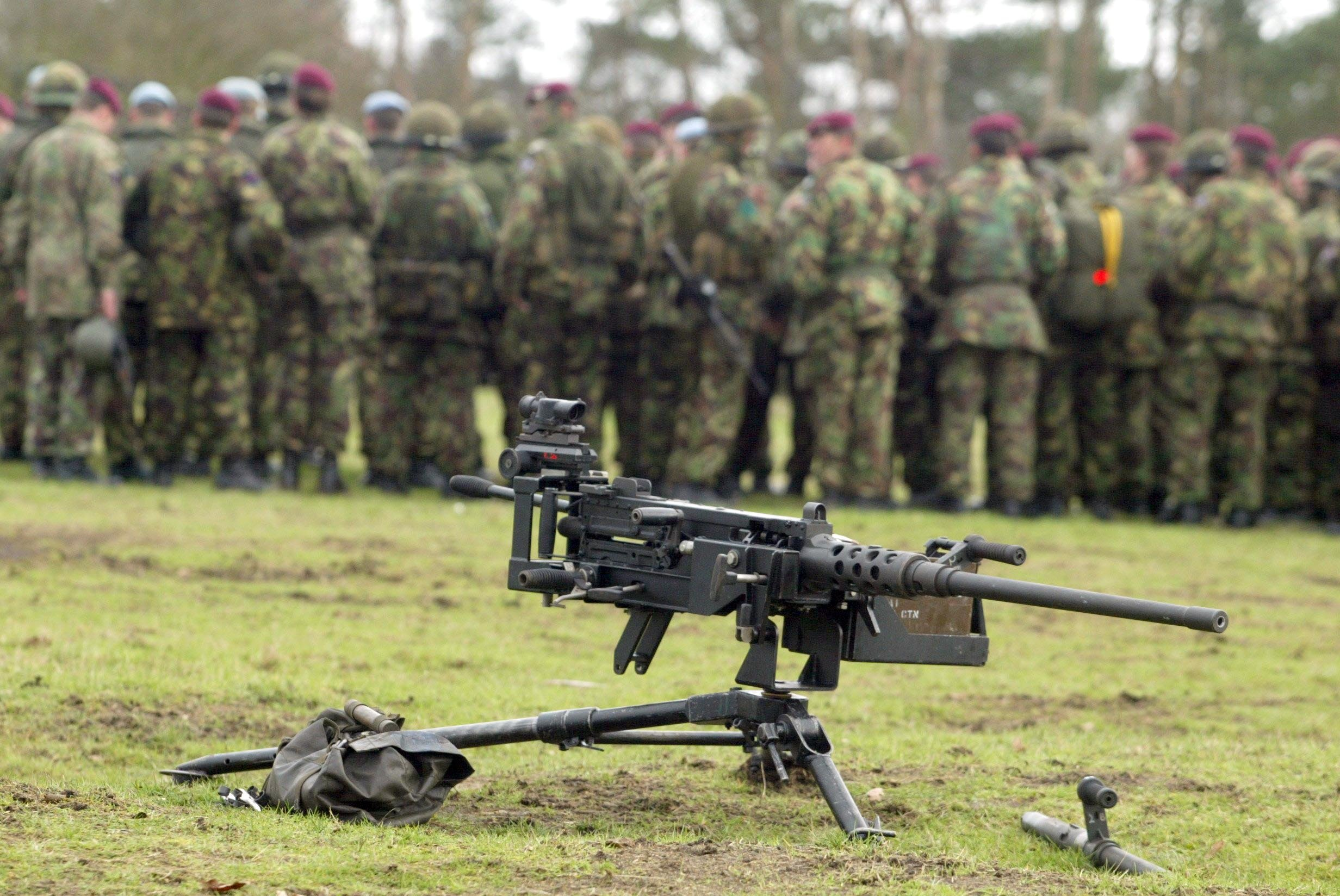 Mandatory Credit: Photo by Tony Kyriacou/REX/Shutterstock (401786v) .50 CALIBRE BROWNING HEAVY MACHINE GUN 16 AIR ASSAULT BRIGADE MEDIA FACILITY, LONDON, BRITAIN - 23 JAN 2003