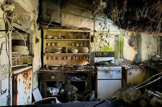 Inside Cornish 'Mary Celeste' home left untouched for more than 20 years.These haunting images show a 'time capsule' home that was left abandoned by its owner over 20 YEARS ago.See story SWHOME. Books were left opened the page last read and clothes, now covered in cobwebs, still hang in the wardrobe.No one in the area can rightly remember what happened to the owner, but everyone agrees he left after his wife died.Now, the house, near Penzance, Cornwall, and all it's contents will now be going to a new owner as it is set to go under the hammer.The previous owner abandoned the house in 1997, and for the past twenty years the door has remained closed until these pictures were taken.The house, in West Cornwall, was eventually bequeathed to the owners son who in turn left it to other relatives - but the house was never lived in again. Benefitting from sea views and of nearby Geevor Tin Mine, the house has been left untouched for the past 21 years. But now the house will be opened up and given a thorough airing, as it is set to go under the hammer in September.