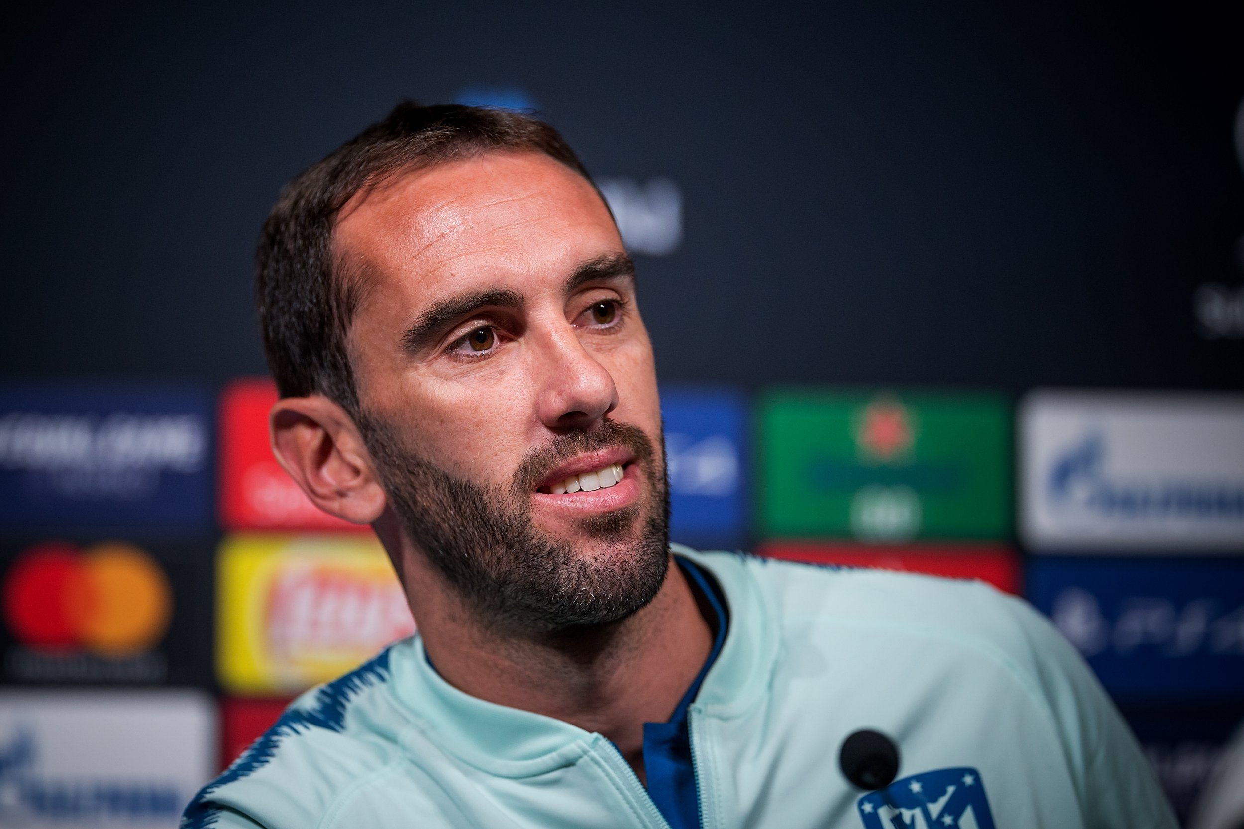 TALLINN, ESTONIA - AUGUST 14: Diego Godin speaks during Atletico Madrid press conference at A. le Coq Arena ahead of the UEFA Super Cup on August 14, 2018 in Tallinn, Estonia. (Photo by Joosep Martinson - UEFA/UEFA via Getty Images)