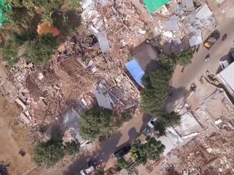 Drone footage reveals devastation left on island Lombok after earthquake
