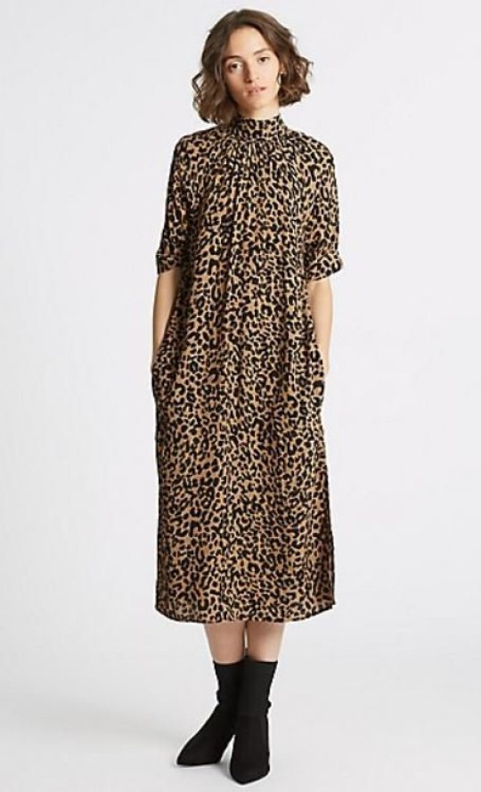 f4458e7038e M S Limited Edition Animal Print Half Sleeve Shift Midi Dress – £45  (Picture  MARKS AND SPENCERS)