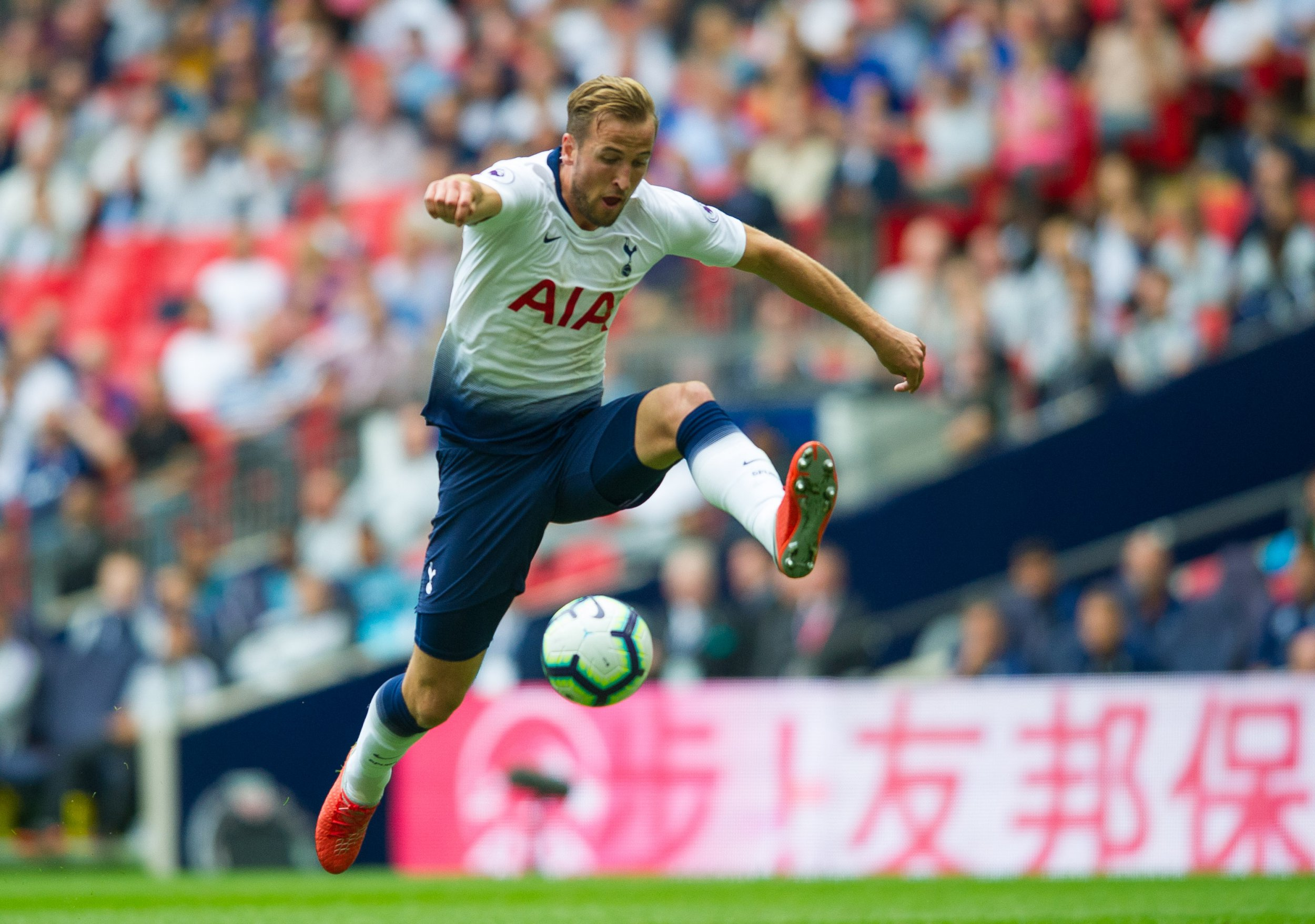Tottenham's Harry Kane during the Premier League match between Tottenham Hotspur and Fulham at Wembley Stadium, London, England on 19 August 2018. Photo by Andrew Aleksiejczuk / PRiME Media Images.