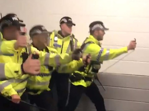 Stoke City fans pepper sprayed by police 'for going for a cigarette' at half time