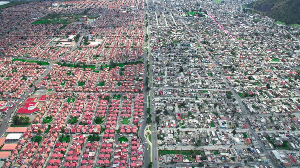 Ixtapaluca, Mexico City. AMAZING aerial images have captured the stark contrast and inequality where rich meets poor all across the world. The spectacular bird???s eye view pictures show the landscape as an affluent area gives way onto one where people may be suffering from poverty. The stunning shots show this crossover of the rich and poor all across South Africa, Kenya, Mexico and even the USA. The remarkable photographs form of africanDRONE founder and photographer Johnny Miller???s (37) Unequal Scenes project. Johnny Miller / mediadrumimages.com