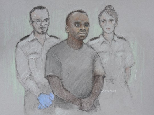 Court artist sketch by Elizabeth Cook of 29-year-old Sudanese national Salih Khater, of Highgate Street, Birmingham, in the dock at Westminster Magistrates' Court where he is charged with the attempted murder of members of the public and police following an incident on Tuesday August 14 in which a car was driven into a group of people and police, before crashing into barriers outside the Houses of Parliament. PRESS ASSOCIATION Photo. Picture date: Monday August 20, 2018. See PA story COURTS Westminster. Photo credit should read: Elizabeth Cook/PA Wire