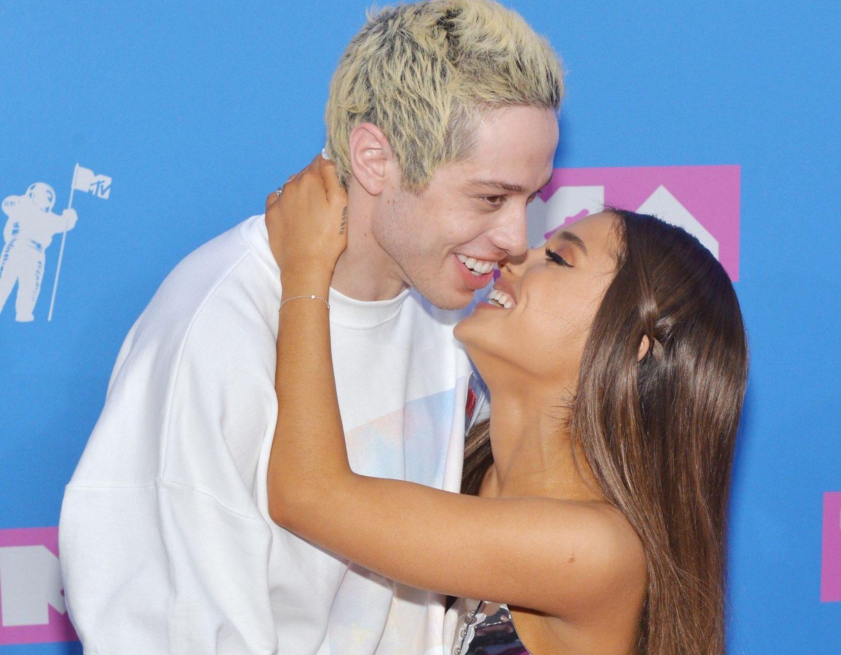 Mandatory Credit: Photo by REX/Shutterstock (9795338z) Pete Davidson and Ariana Grande MTV Video Music Awards, Arrivals, New York, USA - 20 Aug 2018