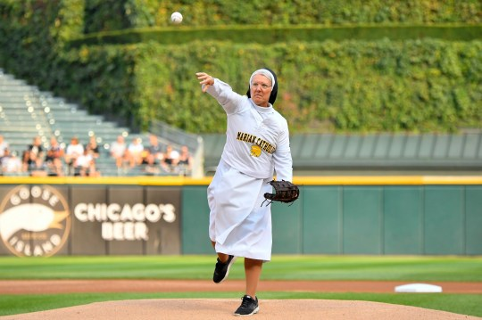 CHICAGO, IL - AUGUST 18: Marian Catholic High School's Sister Mary Jo Sobieck throws out the ceremonial first pitch before the game between the Kansas City Royals and the Chicago White Sox on August 18, 2018 at Guaranteed Rate Field in Chicago, Illinois. (Photo by Quinn Harris/Icon Sportswire) (Icon Sportswire via AP Images)