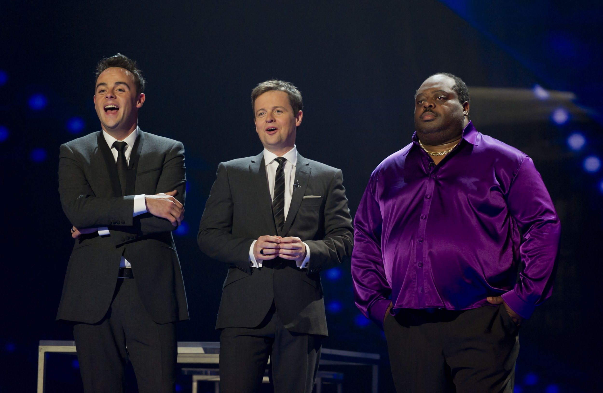 EDITORIAL USE ONLY / NO MERCHANDISING / NO BOOK PUBLISHING Mandatory Credit: Photo by Ken McKay/TalkbackThames/REX/Shutterstock (1335819ft) Ant and Dec [Anthony McPartlin, Declan Donnelly] with Antonio Popeye 'Britain's Got Talent' TV Programme,London, Britain - 3 June 2011