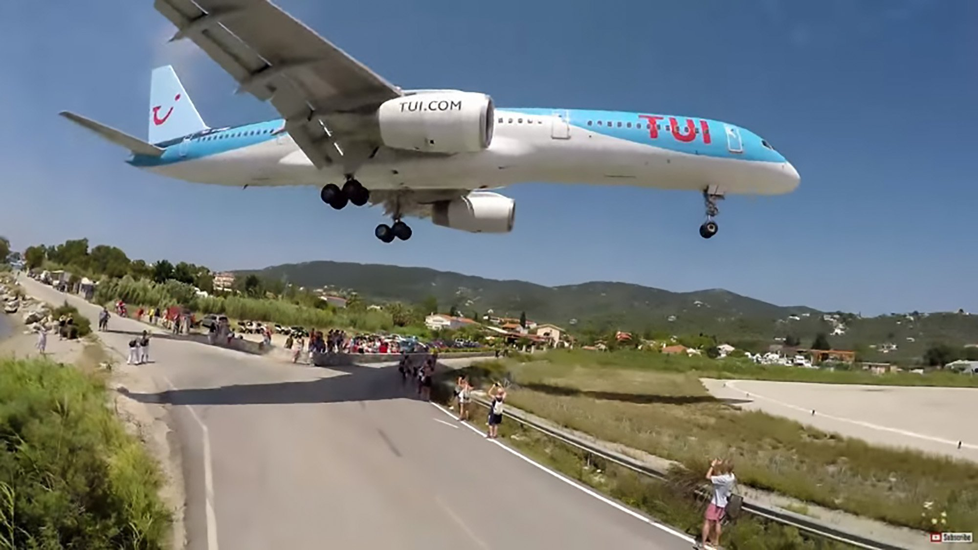 Pic Shows: File images of a Boeing 757 from TUI company captured during a backwards landing on Skiathos Airport; A British schoolboy has been hospitalised after he was blasted more than 10 metres through the air by the turbines of an Airbus 320 after visiting a controversial tourist attraction. Every year thousands of people visit the Greek island of Skiathos for its spectacular beaches and weather and by far the biggest attraction is a trip to the edge of the island's airport to see passenger planes landing just above their heads. This footage shot in 2017 went viral after showing how visitors were even hit by the jet turbines as planes touch down on the island in the Aegean sea. Spectators have known for years that they run the risk of being hit by sand and even stones whipped up by the plane's jet engines, but now a 12-year-old British boy who was watching the site with his dad has been blasted through the air. Luckily he landed on the sand and survived although experts have warned it could just as easily have had deadly consequences. The incident happened early yesterday (Wednesday) afternoon when the father and son, as well as dozens of other tourists, were standing by the fence in order to see a TUI Airbus 320 that was departing for London. The force of the blast from the plane's turbines then hit the young boy and sent him flying through the air. He was taken by ambulance to the Skiathos Health Centre where a full checkup was carried out. Medics have confirmed that the boy was given emergency first aid before being transferred to the Achilopouleio Hospital of Volos for further treatment. According to the medical stuff, the boy is expected to survive.