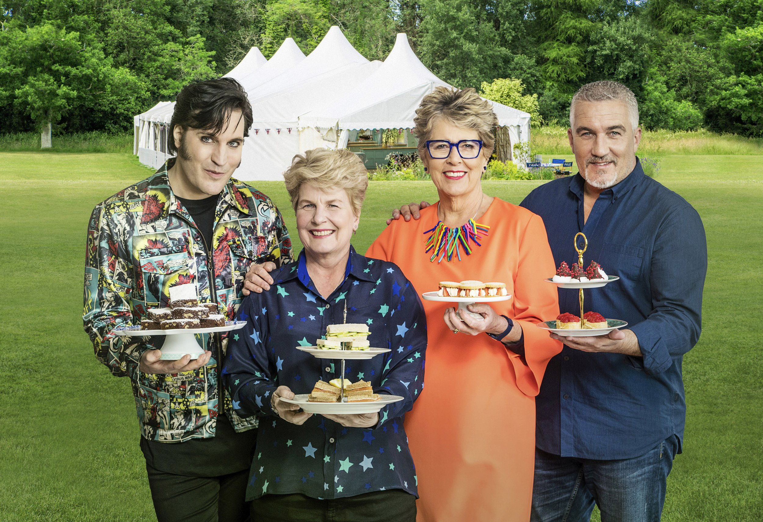 The Great British Bake Off (2018).Talent Specials: - Presenters: Noel fielding, Sandi Toksvig and Judges Paul Hollywood, Prue Leith..STRICT EMBARGO OF 00:01 HRS TUESDAY 21 AUGUST 2018, UNLESS OTHERWISE STATED BELOW.