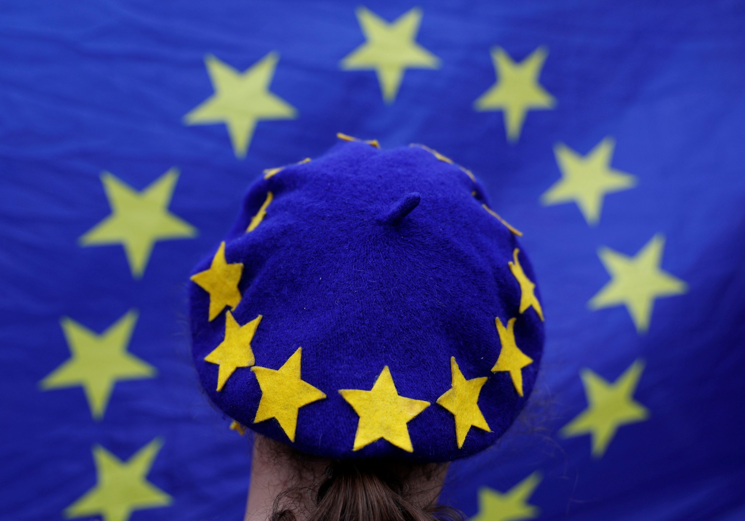 A protester wearing a Europen Union flag themed beret takes part in an anti-Brexit demonstration after Britain's Prime Minister Theresa May triggered the process by which the United Kingdom will leave the Euopean Union, in Birmingham, Britain March 29, 2017. REUTERS/Darren Staples TPX IMAGES OF THE DAY - RC15C7BF3840