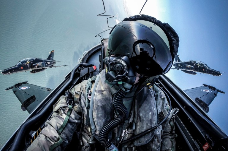 Undated handout photo issued by the Ministry of Defence of 'Selfie' taken by Cpl Tim Laurence RAF, during a routine training sortie over the coast of Anglesey, Wales in an RAF Hawk T2, from IV Squadron based at RAF Valley, entered in the Peoples Choice category in the RAF Photographer of the Year in the 2018 Royal Air Force Photographic Competition. PRESS ASSOCIATION Photo. Issue date: Friday August 24, 2018. Photo credit should read: Cpl Tim Laurence RAF/Ministry of Defence/Crown Copyright/PA Wire NOTE TO EDITORS: This handout photo may only be used in for editorial reporting purposes for the contemporaneous illustration of events, things or the people in the image or facts mentioned in the caption. Reuse of the picture may require further permission from the copyright holder.