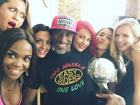 Danny John-Jules is The Cat who got the cream as he poses with Strictly Come Dancing ladies