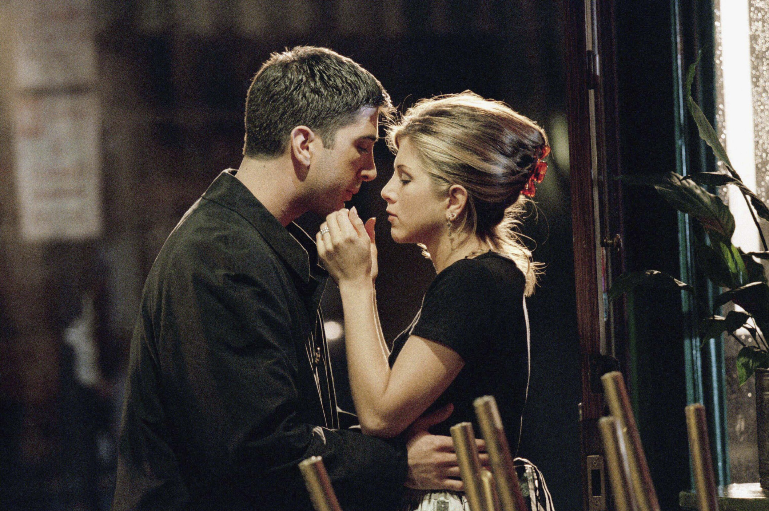 "FRIENDS -- ""The One Where Ross Finds Out"" Episode 7 -- Air Date 11/09/1995 -- Pictured: (l-r) David Schwimmer as Ross Geller, Jennifer Aniston as Rachel Green (Photo by Robert Isenberg/NBC/NBCU Photo Bank via Getty Images)"