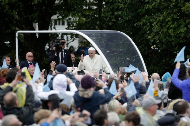 Pope Francis waves as he arrives at the Knock Shrine, in Knock, Ireland, Sunday, Aug. 26, 2018. (AP Photo/Gregorio Borgia)