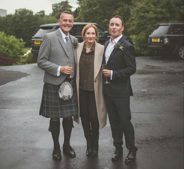 """A SCOTS couple were left flabbergasted after their wedding shoot was photobombed by JK Rowling. Stunned grooms Nick and John, were married at Prestonfield House, in Edinburgh, yesterday. The pair were so excited at seeing their Harry Potter idol make a surprise appearance that they were """"bleeping like Beaker from the Muppets"""". Photographer Matt Fothergill, from Edinburgh, managed to capture the spellbinding moment with the Scots author and the loved-up pair. The photographs captured the grinning grooms and a red-headed Rowling posing outside of the stunning 5-star hotel. The author is believed to have been at the hotel for a Sunday lunch - which costs ?29 for three courses."""
