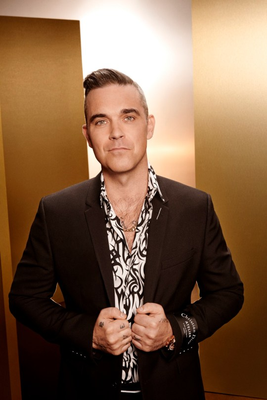 This image is strictly embargoed until 00.01 Tuesday 28th August 2018 From Thames/Syco The X Factor: SR15 on ITV Pictured: Robbie Williams. This photograph is (C) Thames/Syco/ITV and can only be reproduced for editorial purposes directly in connection with the programme or event mentioned above, or ITV plc. Once made available by ITV plc Picture Desk, this photograph can be reproduced once only up until the transmission [TX] date and no reproduction fee will be charged. Any subsequent usage may incur a fee. This photograph must not be manipulated [excluding basic cropping] in a manner which alters the visual appearance of the person photographed deemed detrimental or inappropriate by ITV plc Picture Desk. This photograph must not be syndicated to any other company, publication or website, or permanently archived, without the express written permission of ITV Plc Picture Desk. Full Terms and conditions are available on the website www.itvpictures.co.uk For further information please contact: james.hilder@itv.com / 0207 157 3052
