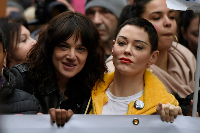 "Asia Argento and Rose McGowan during the event organized in Rome by the feminist collective ""Not one less"" on International Women's Day 2018"