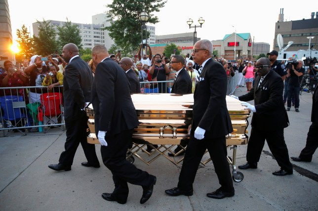 The casket carrying the late singer Aretha Franklin arrives at the Charles H. Wright Museum of African-American History where she will lie in state for two days of public viewing, in Detroit, Michigan, U.S., August 28, 2018. REUTERS/Mike Segar