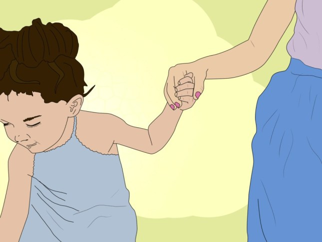 Illustration of a woman holding a small girl's hand