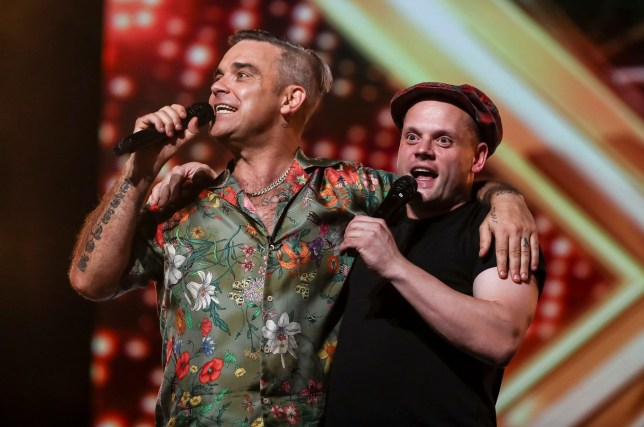STRICT EMBARGO - NO USE BEOFRE 21:00 THURSDAY 30TH AUGUST 2018 Mandatory Credit: Photo by Dymond/Thames/Syco/REX/Shutterstock (9838680ag) Robbie Williams and Andy Hofton 'The X Factor' TV show, Series 15, Episode 1, UK - 01 Sep 2018