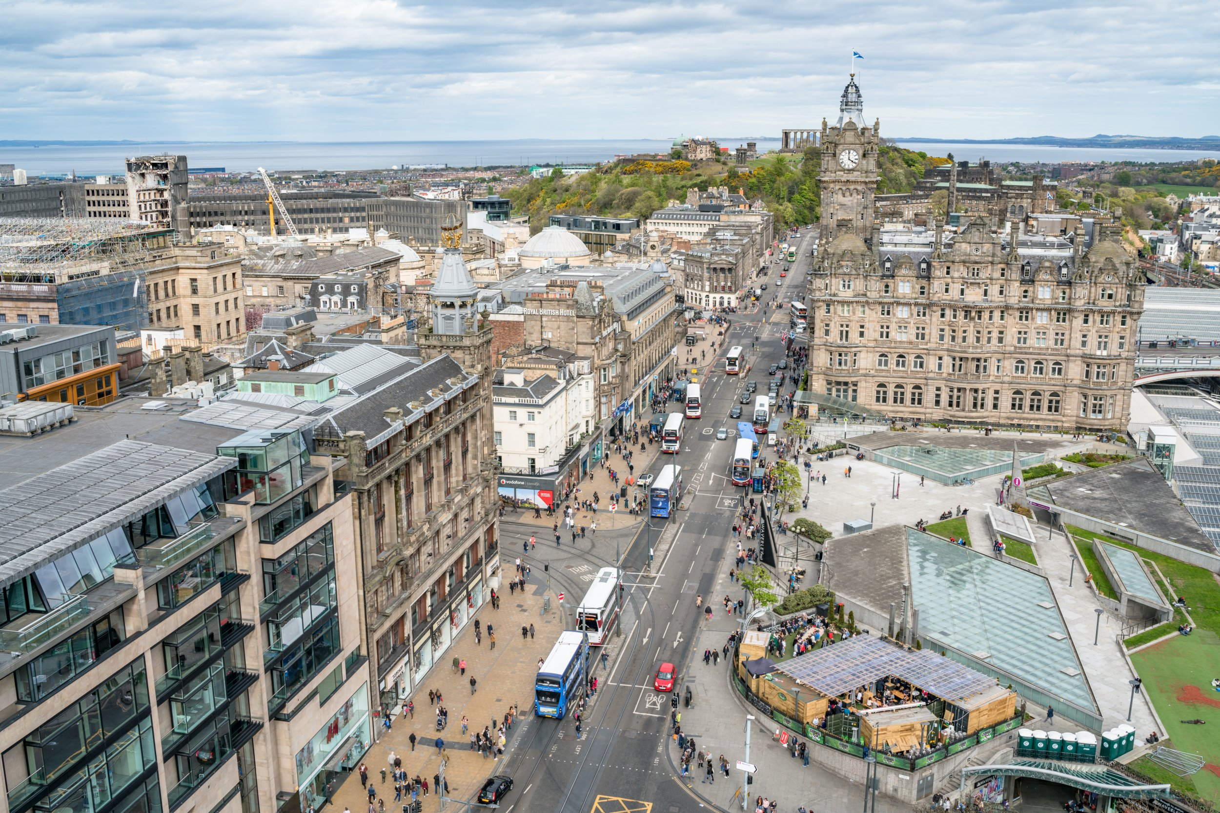 United Kingdom, UK, Scotland, Edinburgh, Princes Street Gardens, Great Britain, Princes Street Gardens with the Royal Mile buildings in the background