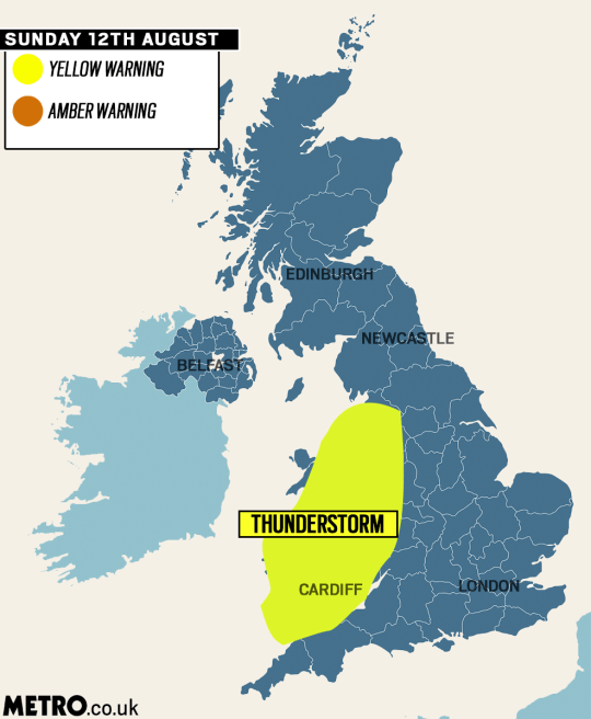 Yellow weather warnings for thunderstorms picture: Metro.co.uk